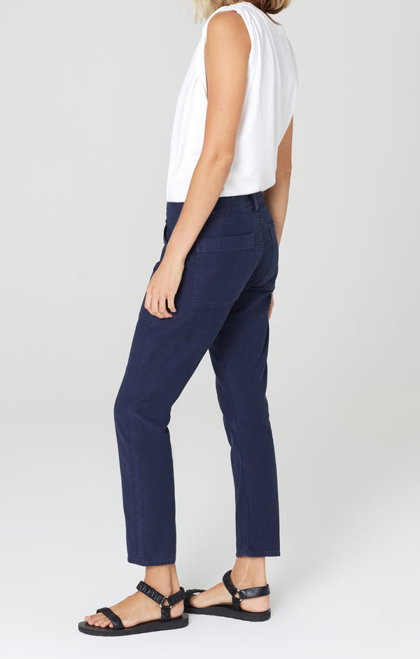 leah cargo pant washed navy side