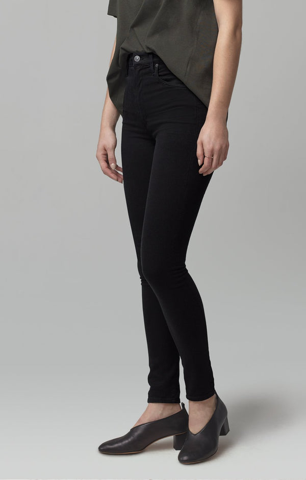 chrissy high rise skinny fit all black back