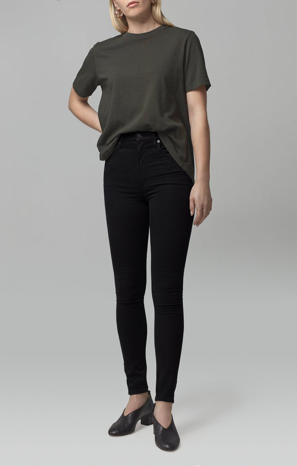 chrissy high rise skinny fit all black front