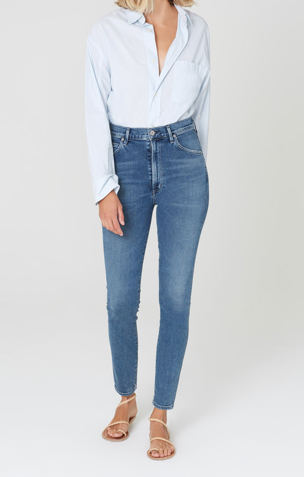 chrissy high rise skinny fit flicker front