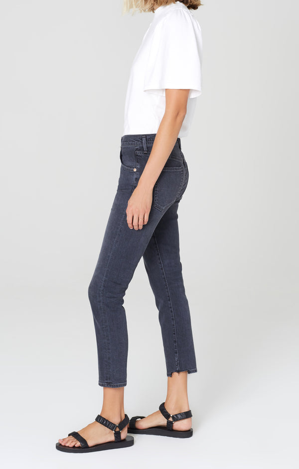 elsa mid rise slim fit crop monochrome side