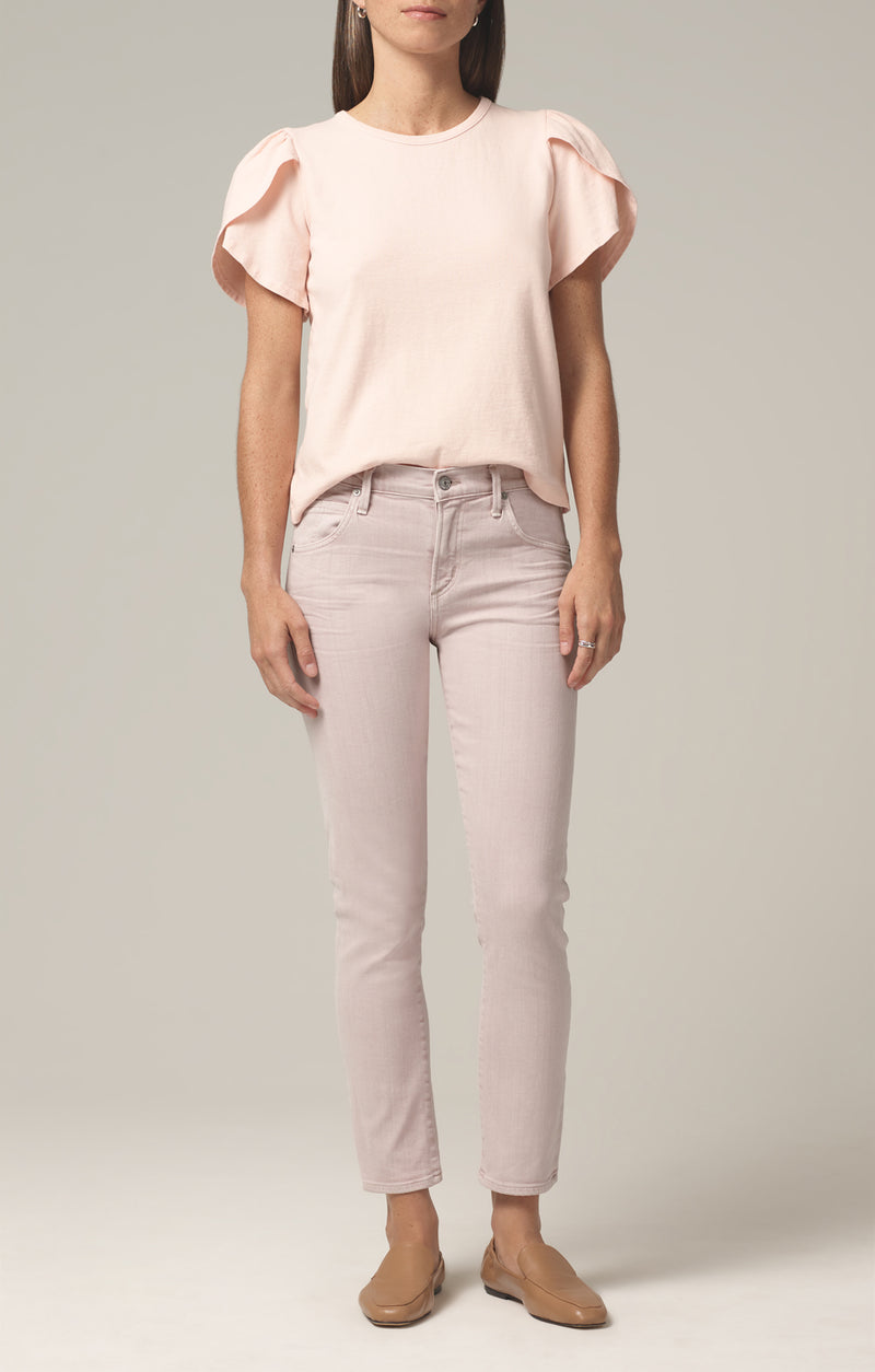 elsa mid rise slim fit crop wild rose front