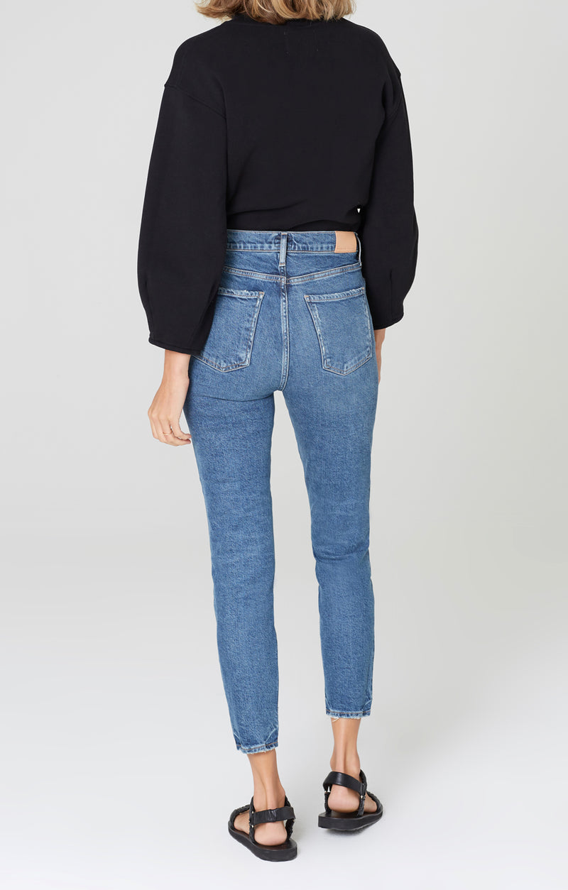 olivia high rise slim fit moments back