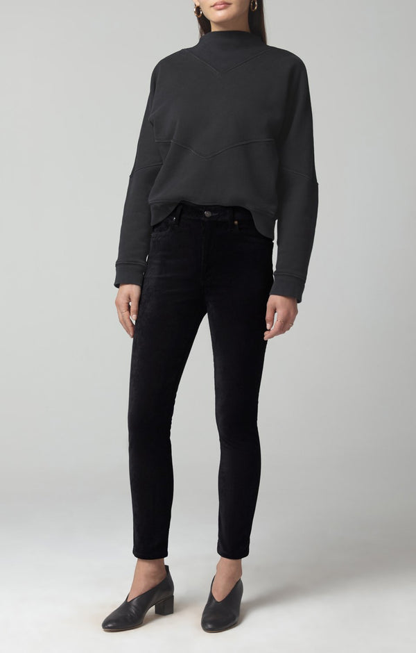 olivia high rise slim fit black velour front