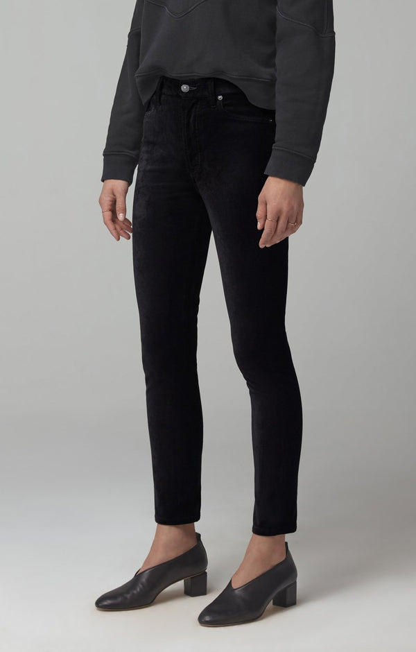 olivia high rise slim fit black velour back