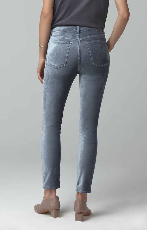 olivia high rise slim fit sage velour back