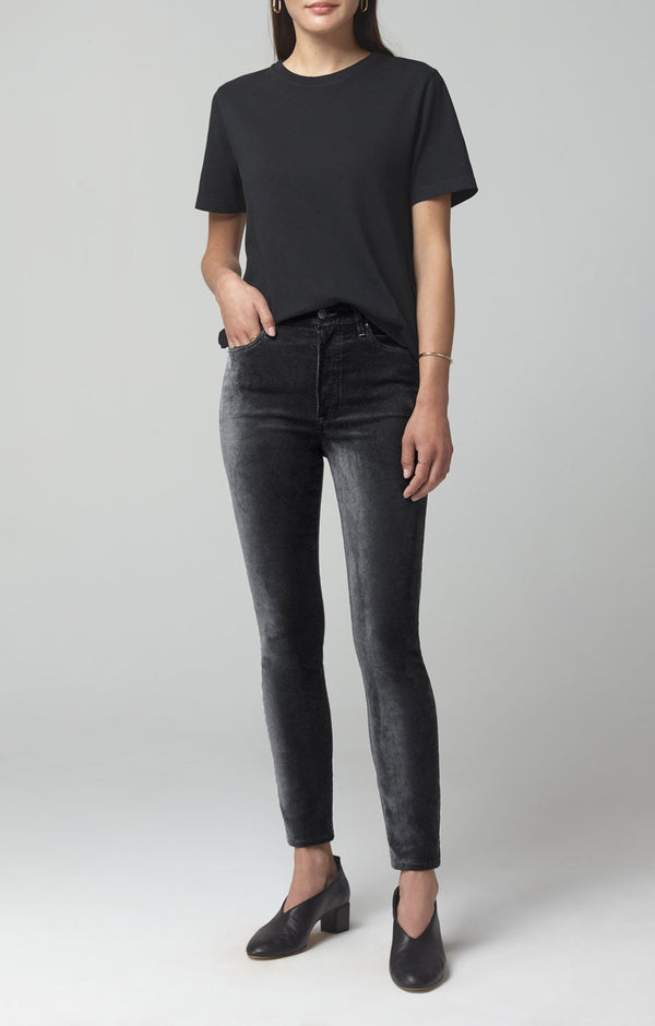 olivia high rise slim fit slate velour front