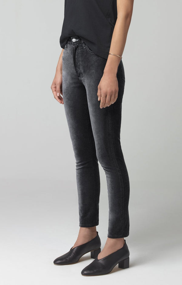 olivia high rise slim fit slate velour back