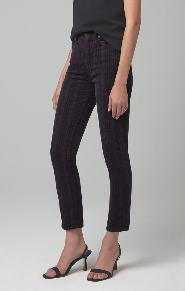 olivia high rise slim fit cosmic grey corduroy back