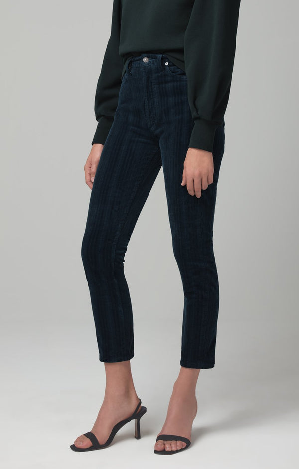 olivia high rise slim fit midnight green corduroy back