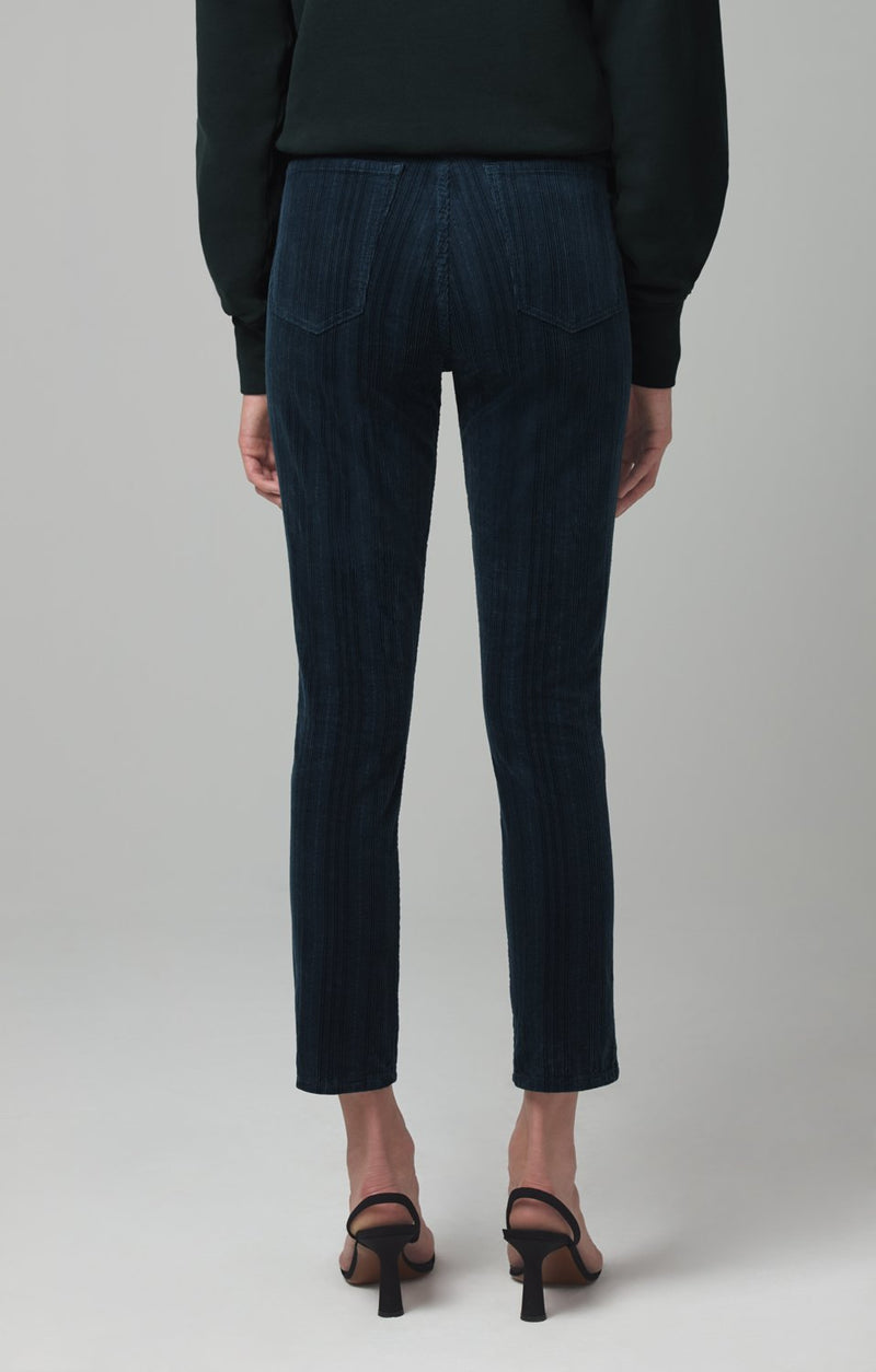 olivia high rise slim fit midnight green corduroy side