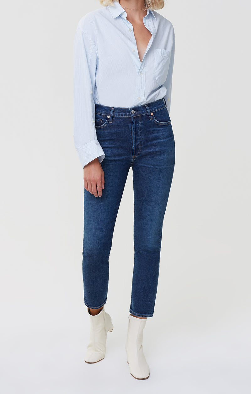 olivia high rise slim fit gleams front