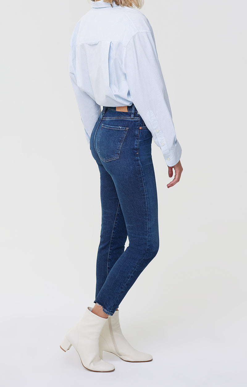 olivia high rise slim fit gleams side