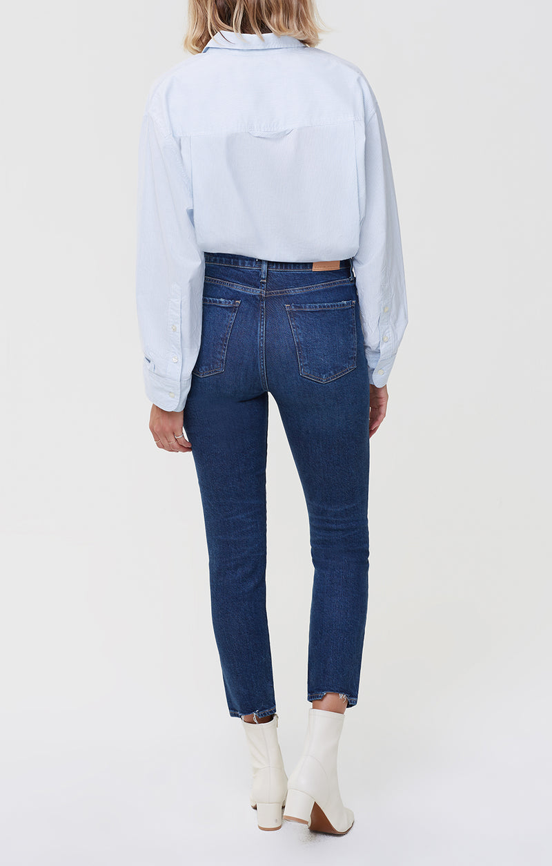 olivia high rise slim fit gleams back