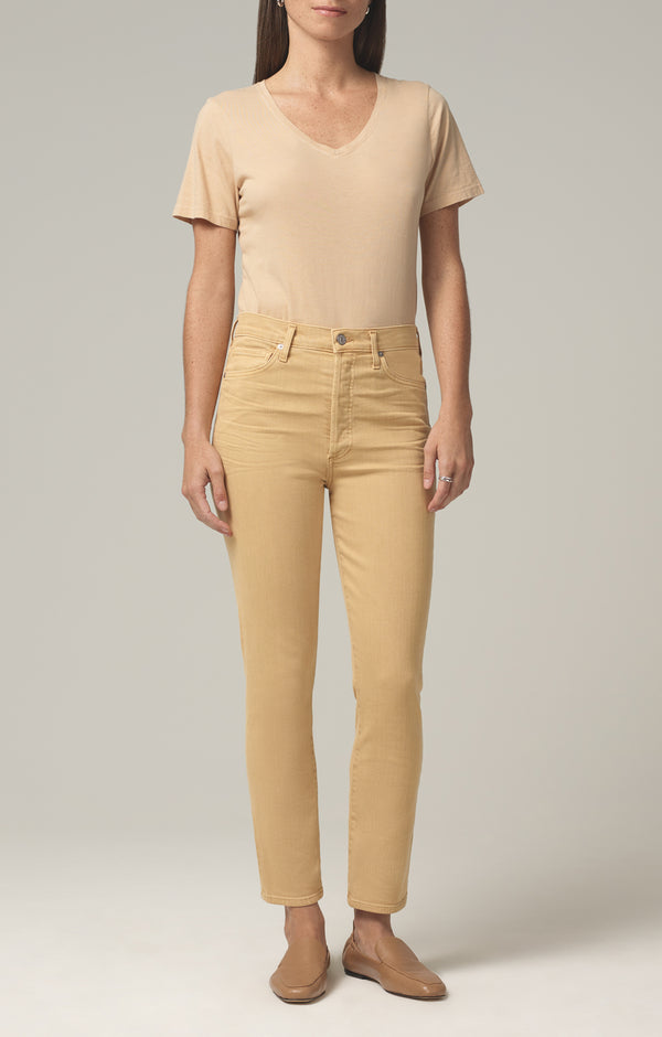 olivia high rise slim fit golden rod front