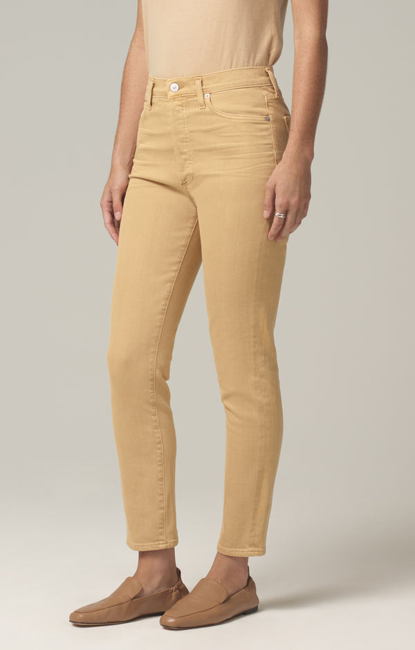 olivia high rise slim fit golden rod side