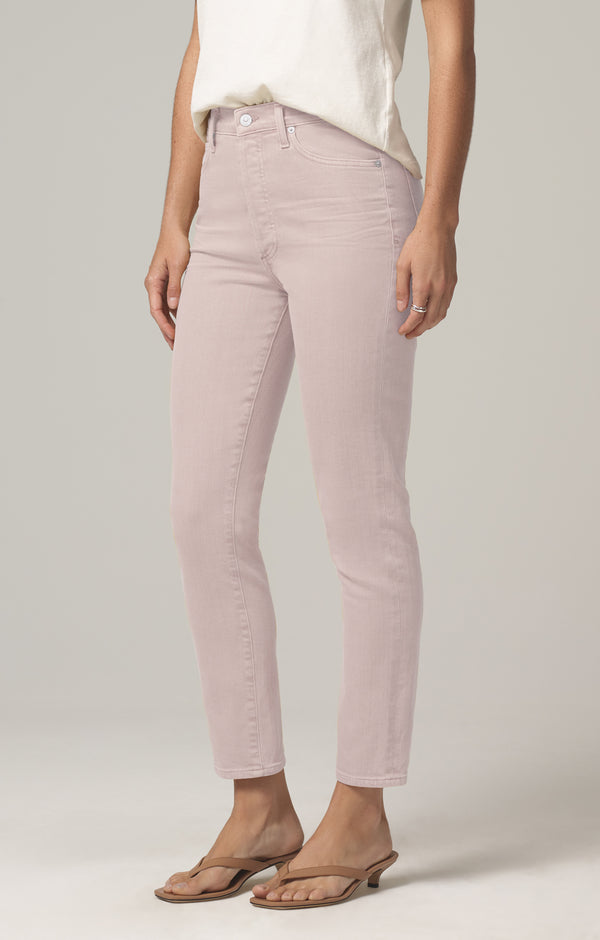 olivia high rise slim fit wild rose side