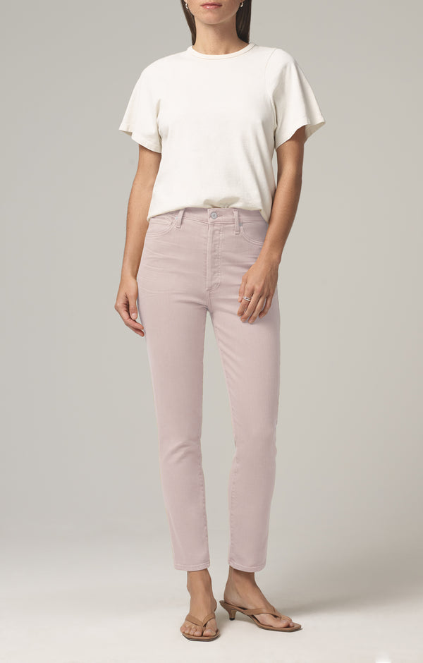 olivia high rise slim fit wild rose front
