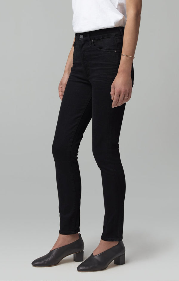 olivia high rise slim fit black back