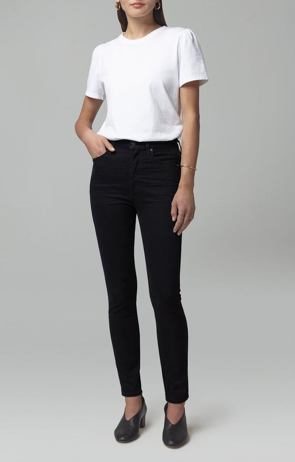 olivia high rise slim fit black front