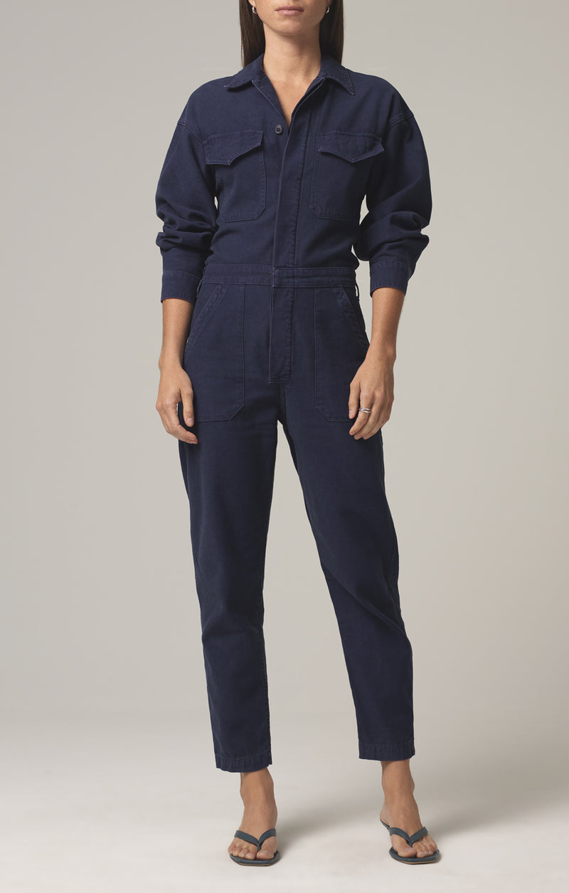 marta jumpsuit washed navy front