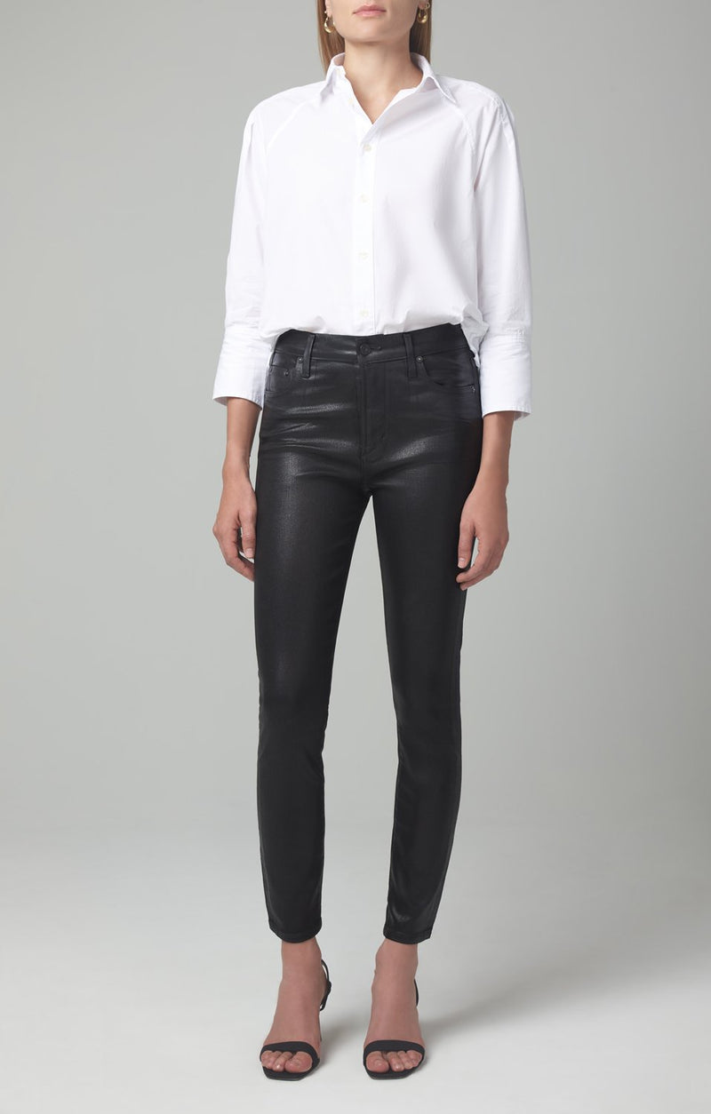 rocket ankle mid rise skinny fit black leatherette front