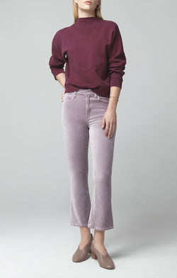 demy cropped flare amethyst velour front