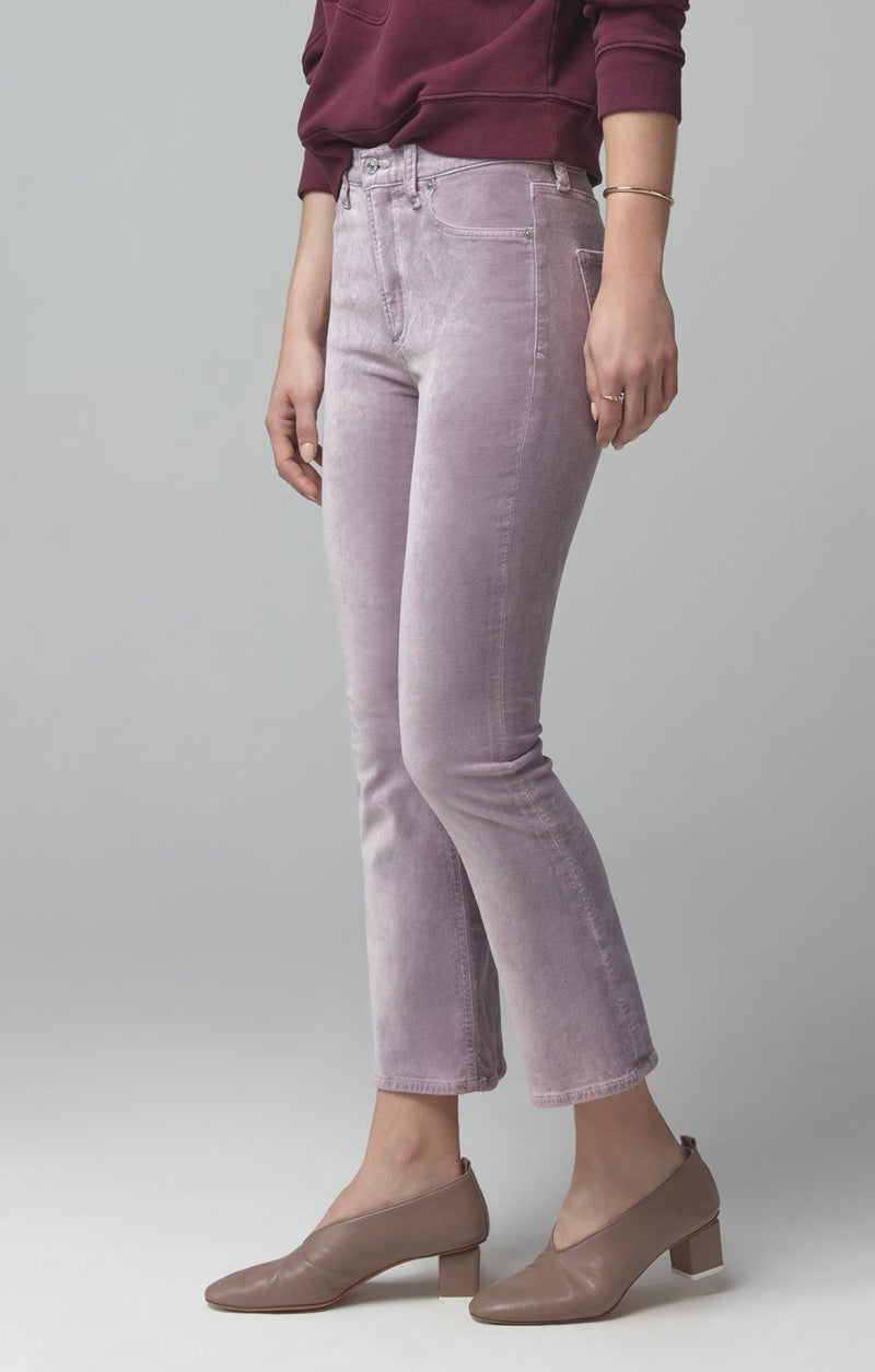 demy cropped flare amethyst velour back
