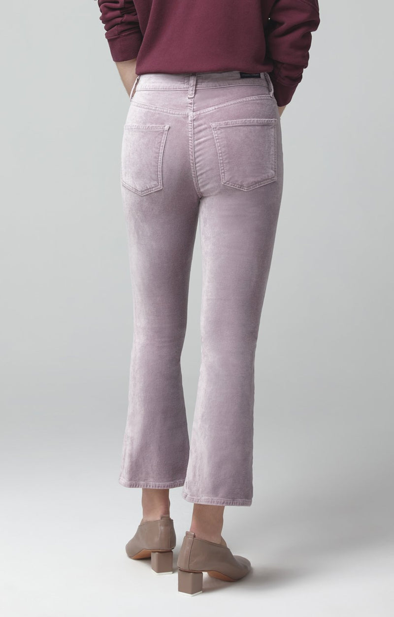 demy cropped flare amethyst velour side