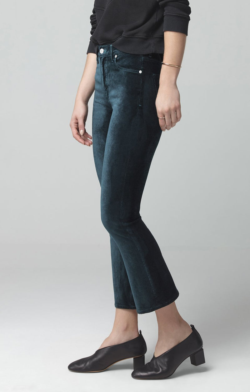 demy cropped flare midnight green velour back