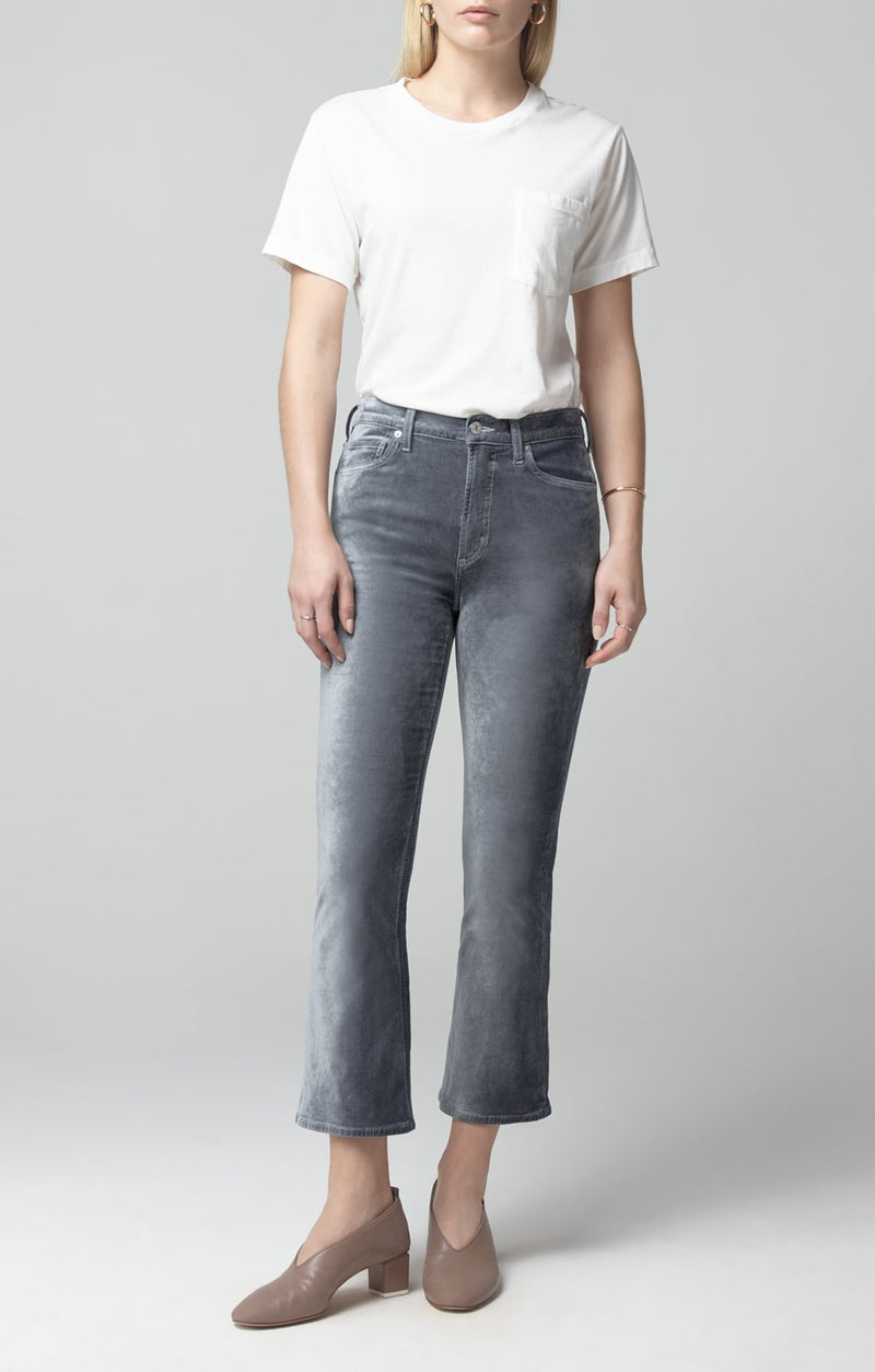 demy cropped flare sage velour front