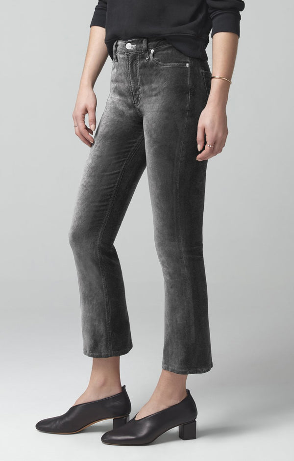 demy cropped flare slate velour back
