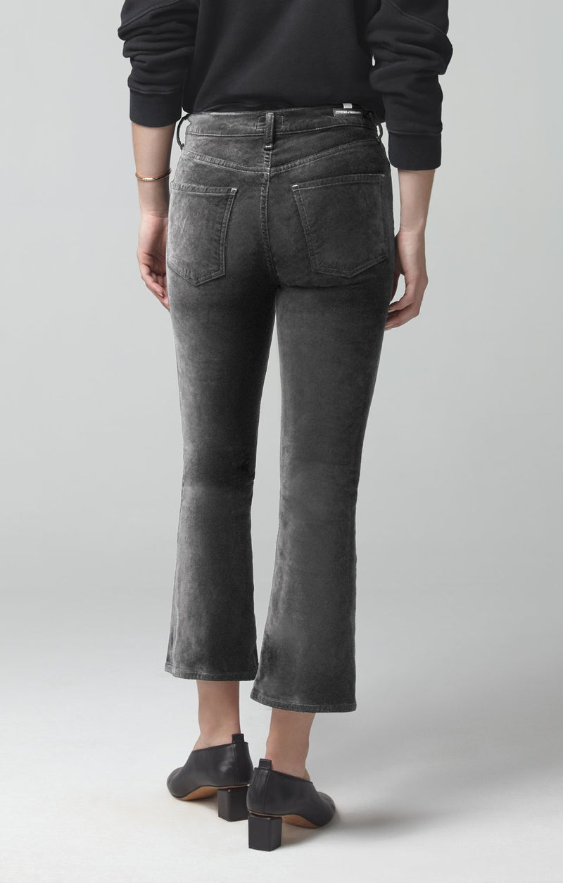 demy cropped flare slate velour side