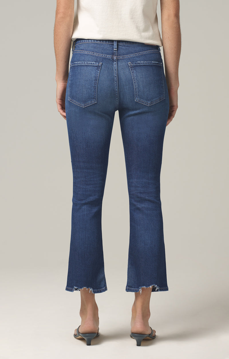 demy cropped flare denim gleams back