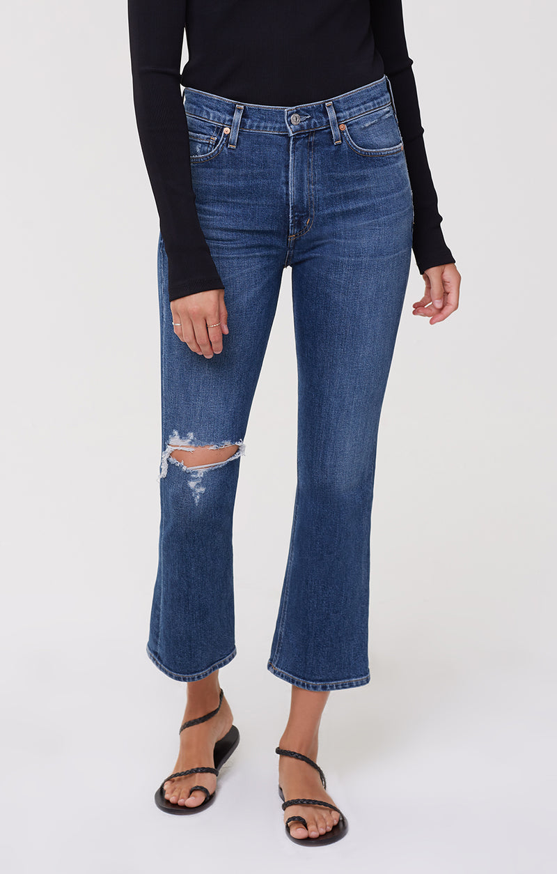 Demy Cropped Flare Denim Distressed Tempo front