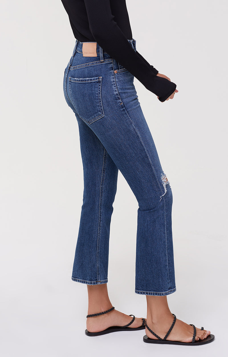 Demy Cropped Flare Denim Distressed Tempo side