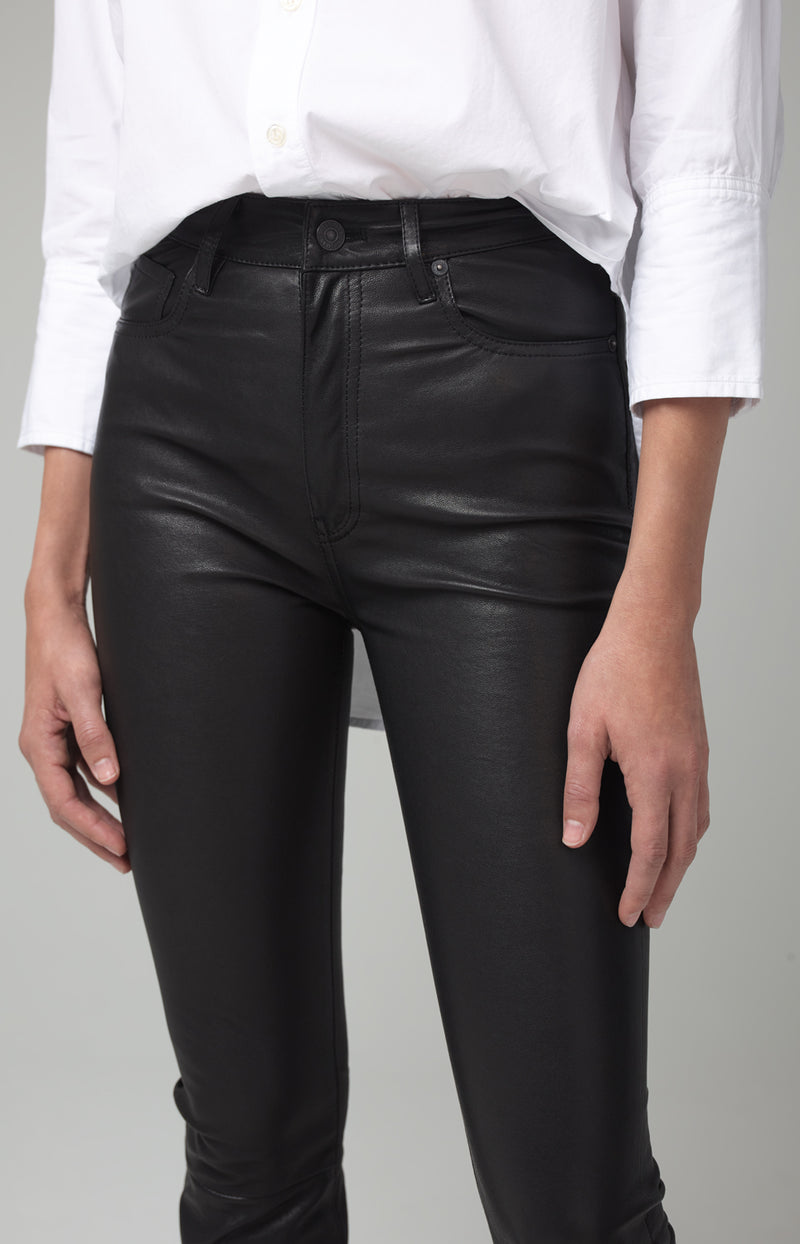 demy cropped flare black leather detail