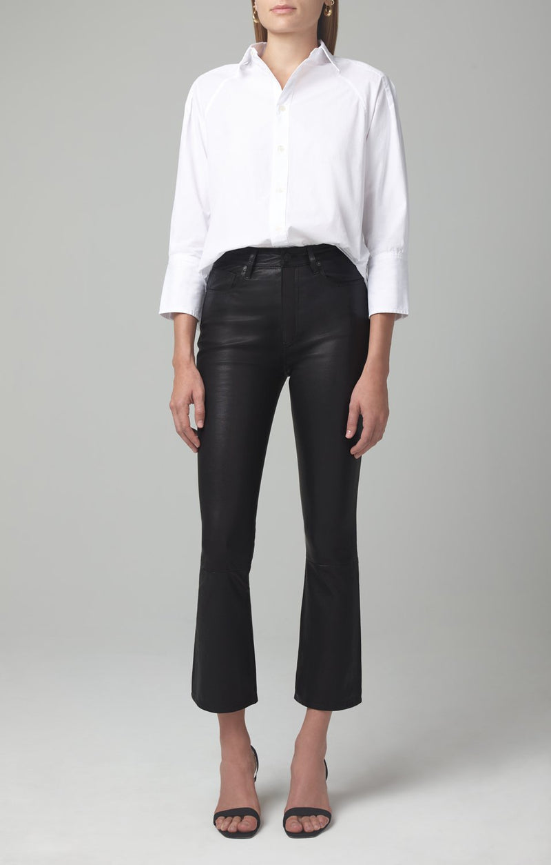 demy cropped flare black leather front
