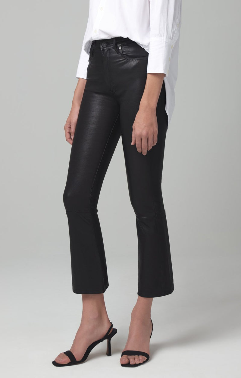 demy cropped flare black leather back