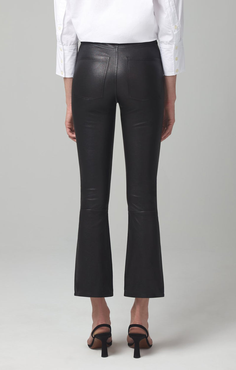 demy cropped flare black leather side