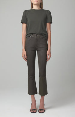 demy cropped flare pewter leather front