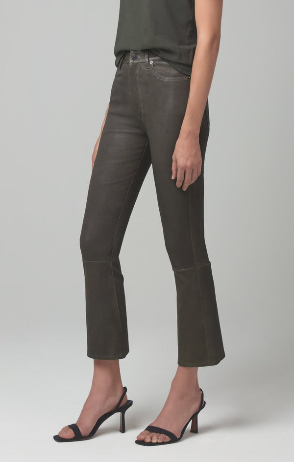 demy cropped flare pewter leather back