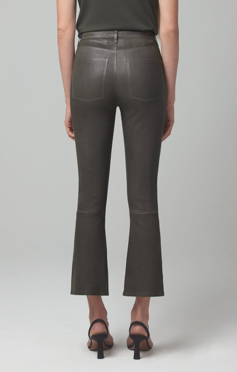 demy cropped flare pewter leather side