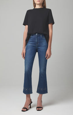 demy cropped flare gleams stud front