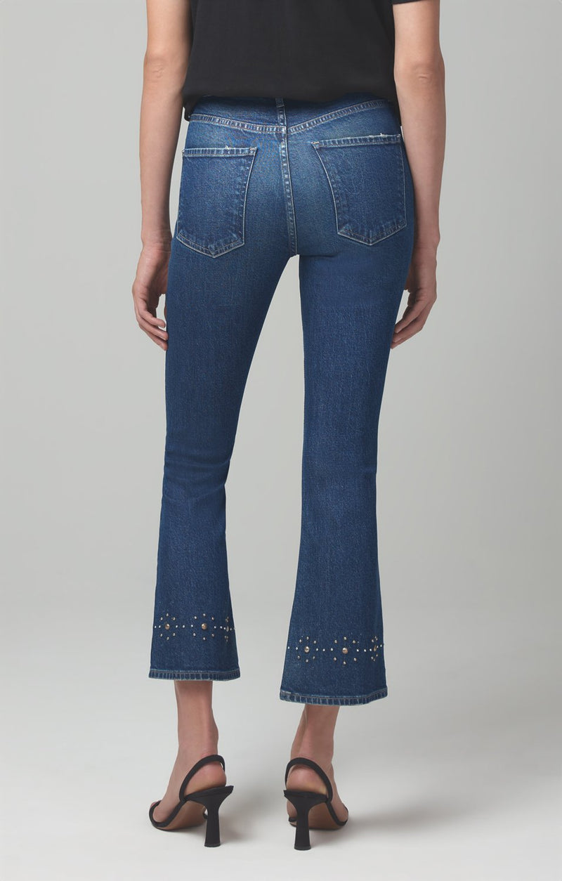 demy cropped flare gleams stud detail