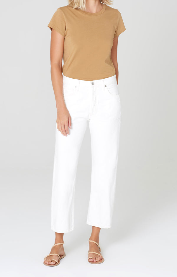 Emery High Rise Relaxed Crop White Chalk Front