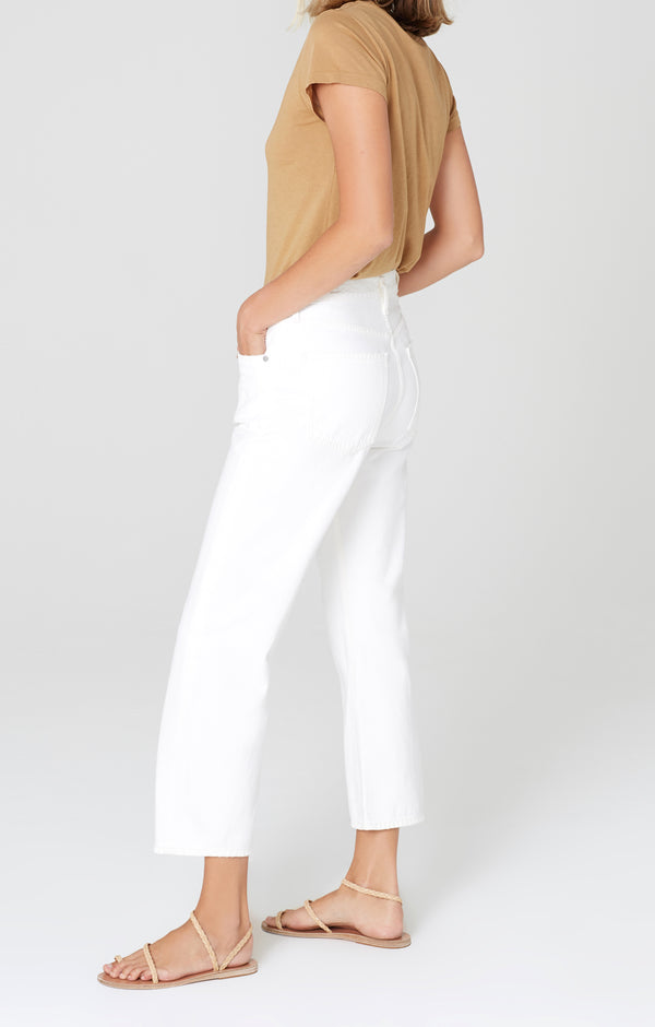 Emery High Rise Relaxed Crop White Chalk Side