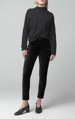 harlow ankle mid rise slim fit black velour front