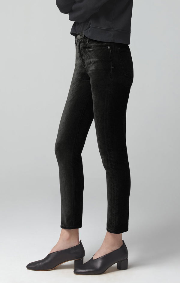 harlow ankle mid rise slim fit black velour back