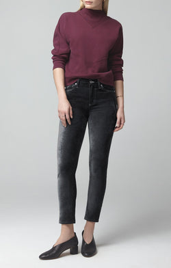 harlow ankle mid rise slim fit slate velour front